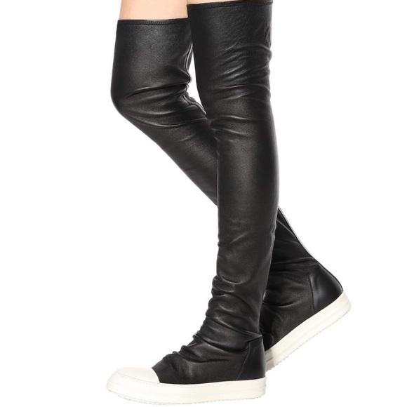 17dfef98fff Rick Owens Black   White Stocking Thigh-High Boots